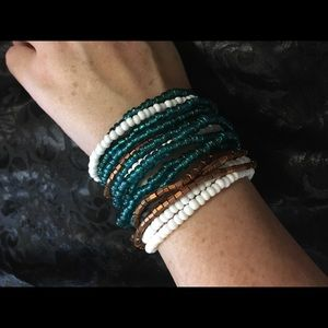 Teal white and Gold Stretchy Bracelets